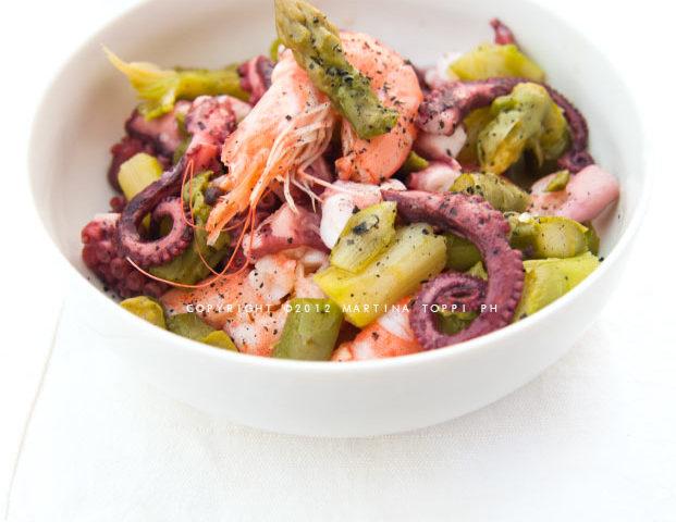 insalata di mare con asparagi
