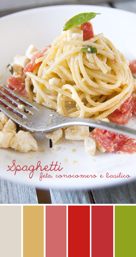 Spaghetti feta, cocomero e basilico