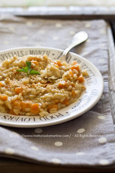 Risotto alla patata dolce e granella di nocciole