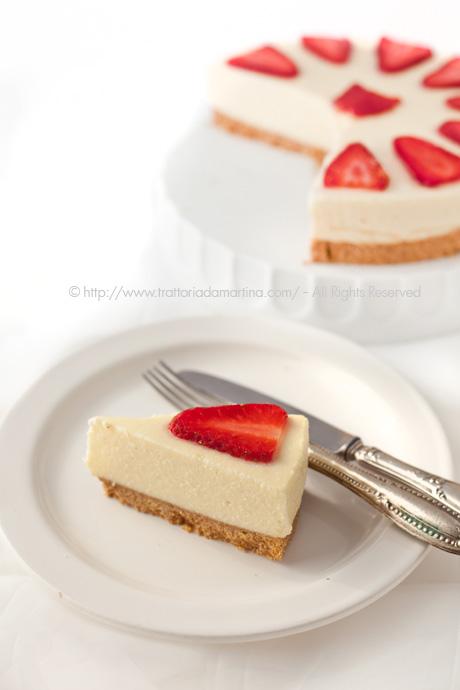 Cheesecake di ricotta e crema pasticcera al latte di riso senza cottura