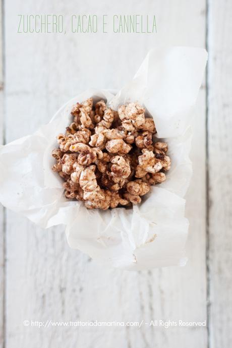 Pop corn dolci al cacao e cannella