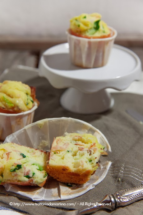 Mini muffin con speck e zucchine