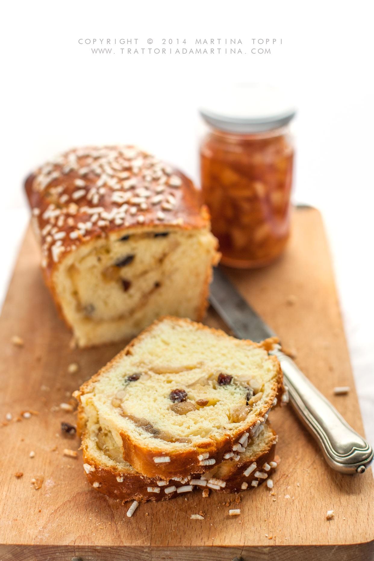Pan brioche variegato alla confettura di mele