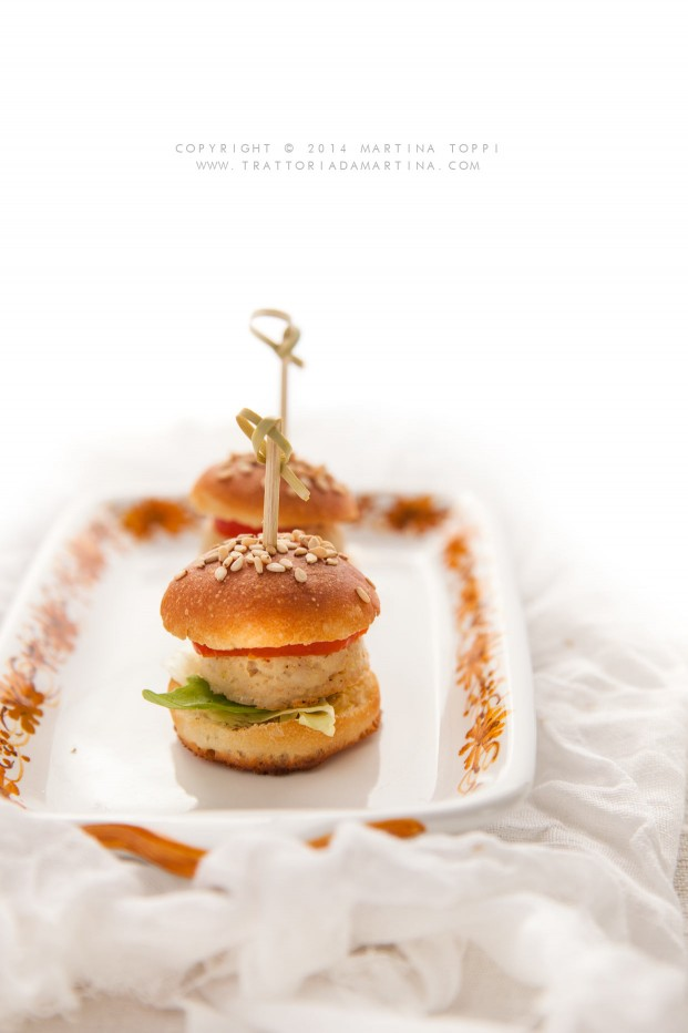 Mini burger di pollo finger food