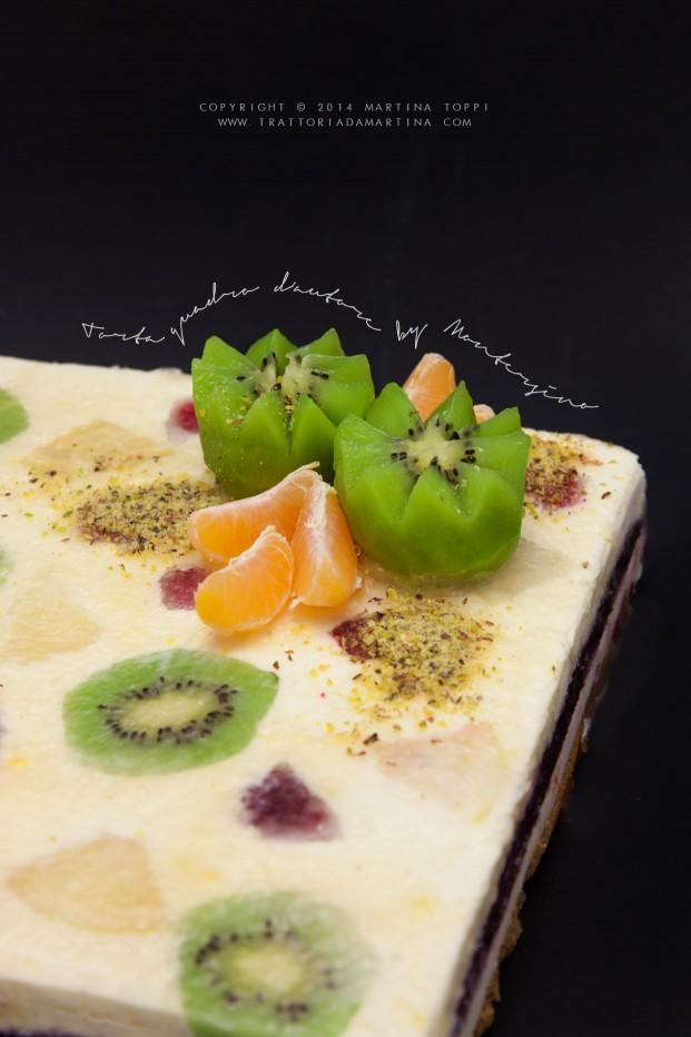 Torta quadro d'autore di Luca Montersino con chantilly al limone e gelèe ai frutti di bosco