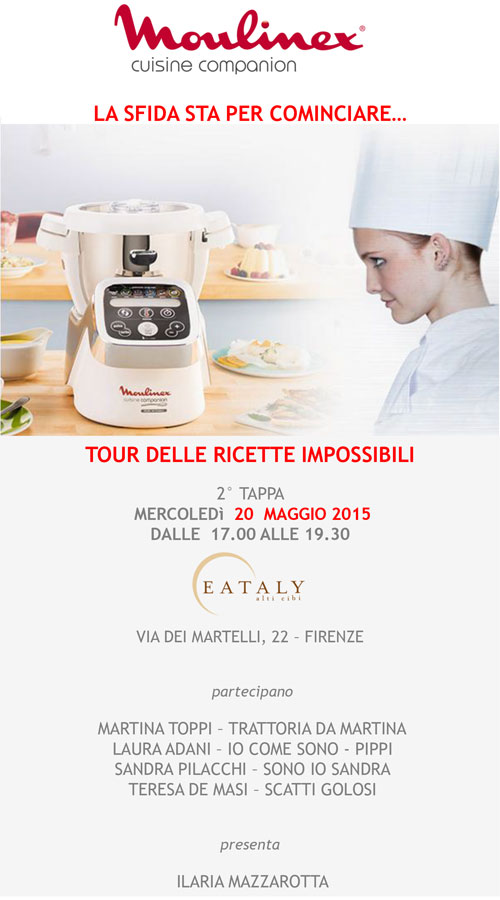Meno due alla 2° tappa del tour Cuisine Companion. Ci vediamo a Firenze.