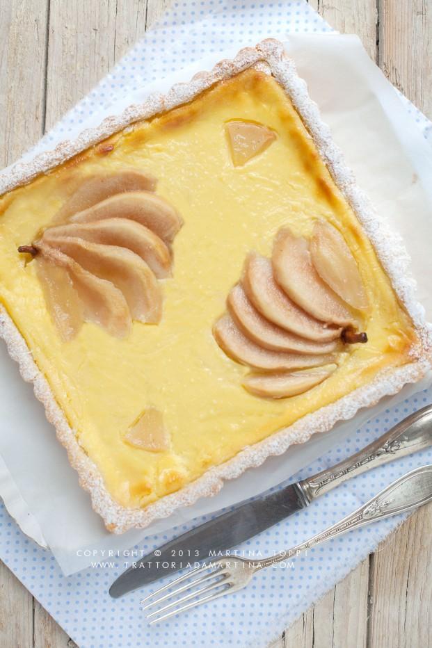 Crostata con crema di ricotta e pere caramellate