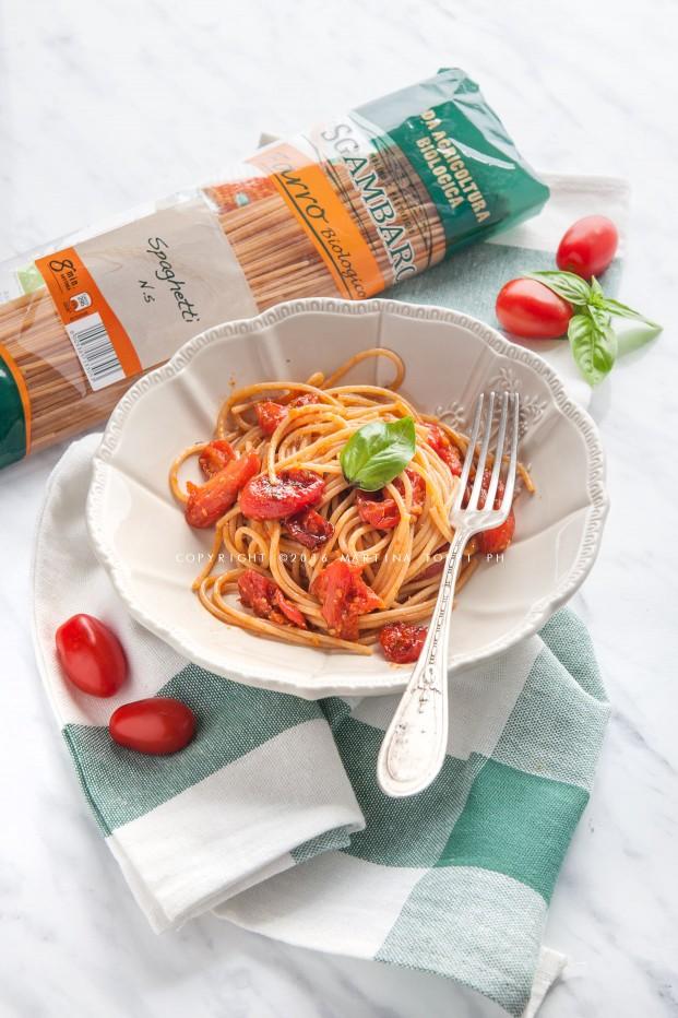 spaghetti di farro con pomodorini caramellati