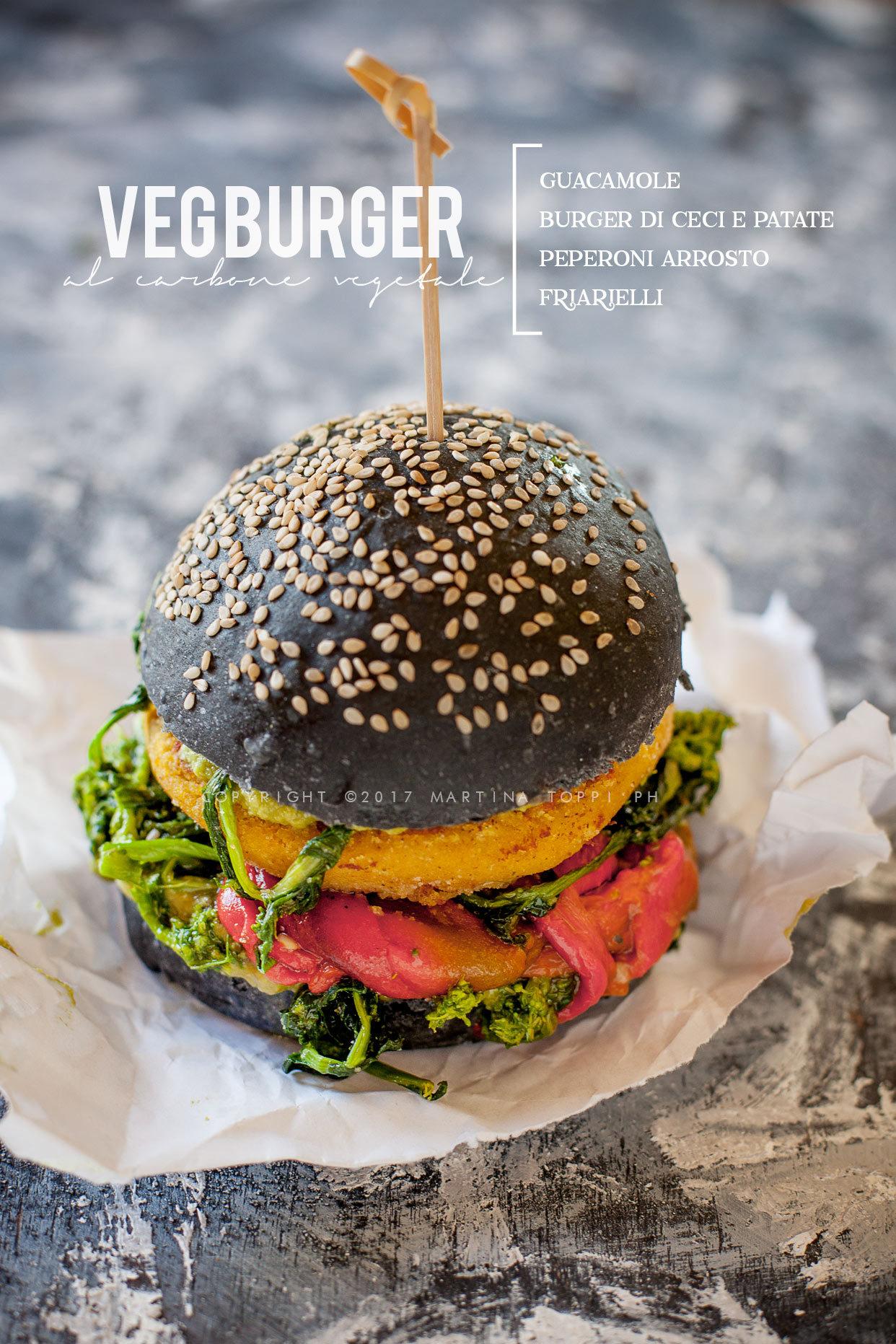 hamburger vegetariano al carbone vegetale